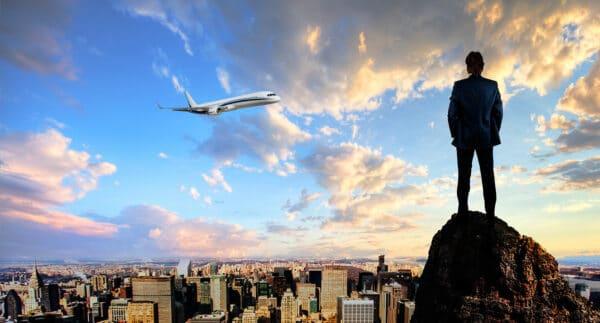 businessman overlooking city
