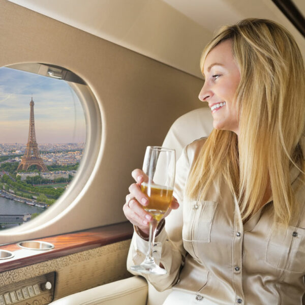 woman in private jet
