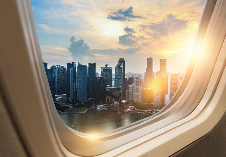 flight departing at sunset