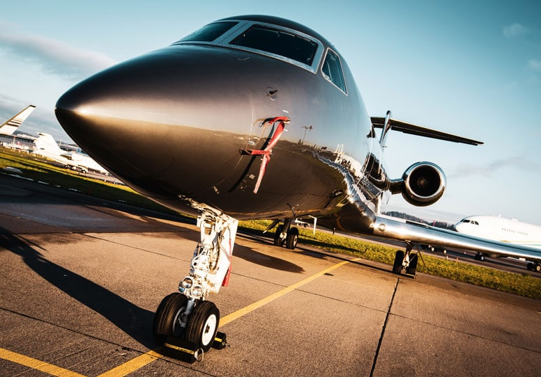 private jet parked at airport